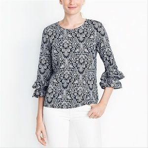 J.Crew Factory Floral Ruffle Bell Sleeve Blouse